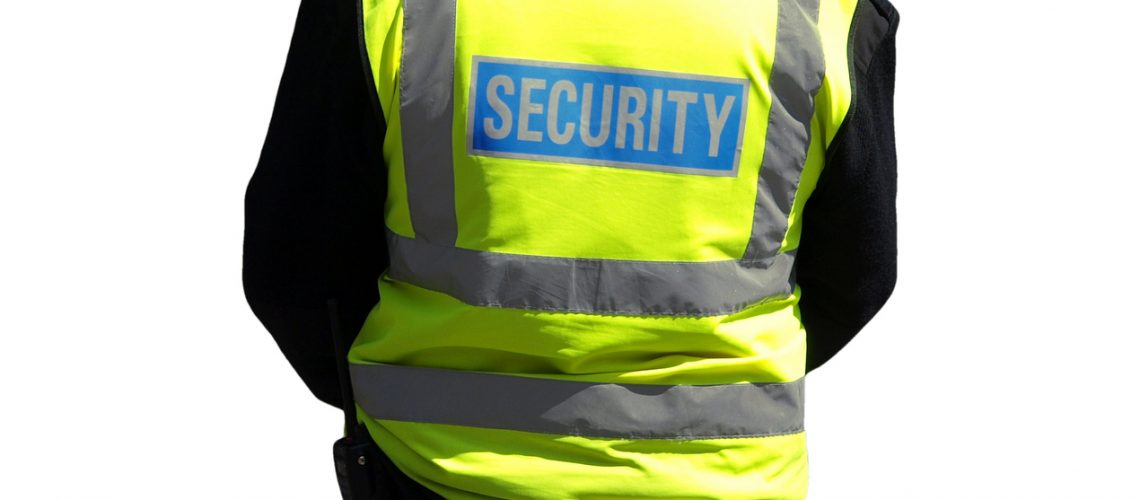 security staff member isolated over white